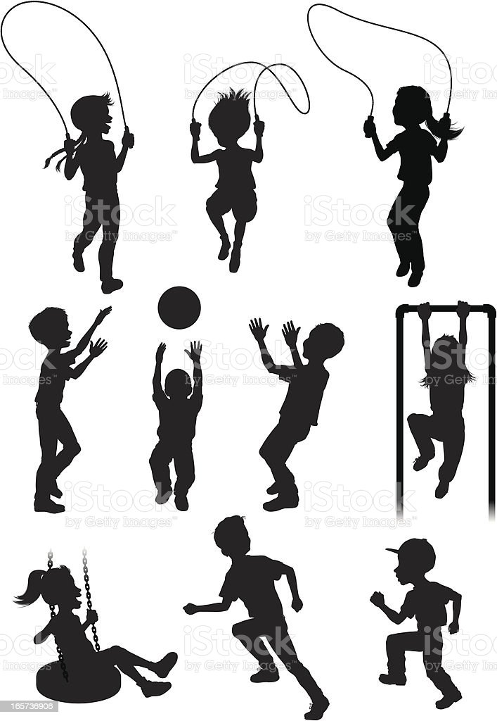 Silhouettes Of Children Playing Stock Illustration
