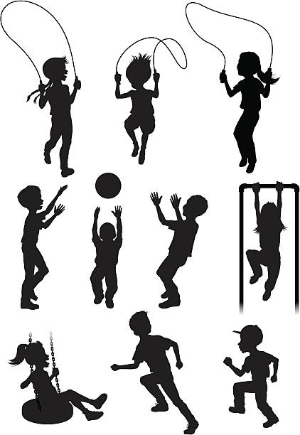 silhouettes of children playing - monkey bars stock illustrations, clip art, cartoons, & icons