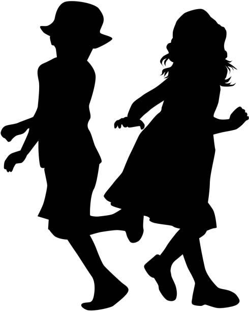 シルエットの子供達が遊んでいる。 - 姉妹点のイラスト素材/クリップアート素材/マンガ素材/アイコン素材
