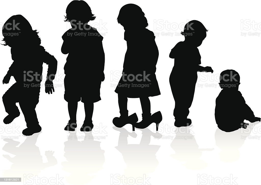 Silhouettes of Children royalty-free stock vector art