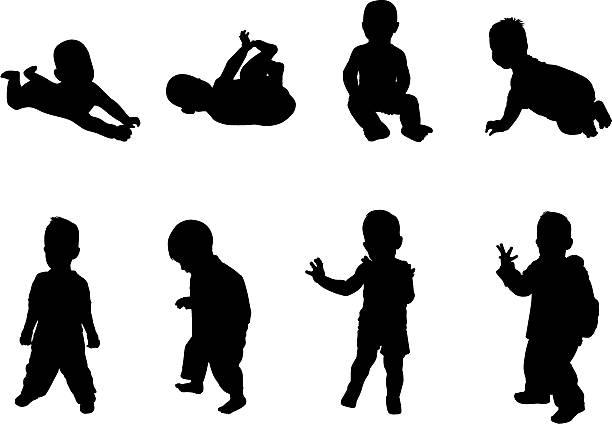 sylwetki dzieci - maluch stock illustrations