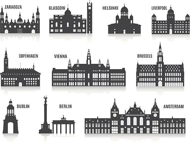 ilustrações de stock, clip art, desenhos animados e ícones de silhuetas de cidades - berlin wall