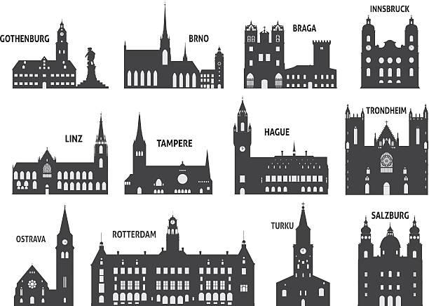 bildbanksillustrationer, clip art samt tecknat material och ikoner med silhouettes of cities - gothenburg