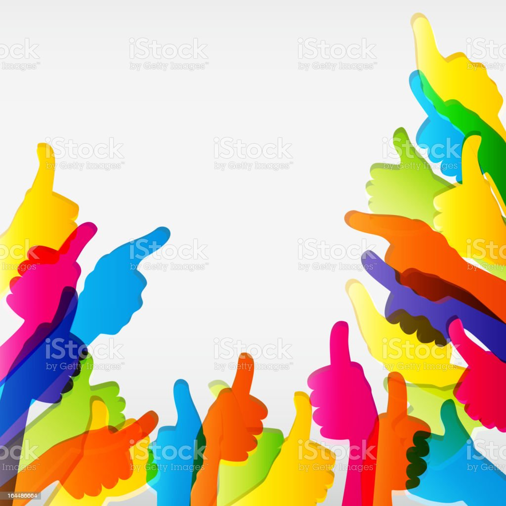 Silhouettes of colored hands with thumbs up vector art illustration