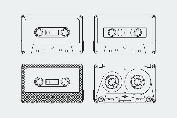 Silhouettes of compact cassettes or tapes in outline style Silhouettes of compact cassettes or tapes in outline style tape stock illustrations
