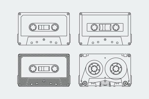 ilustrações, clipart, desenhos animados e ícones de silhuetas de fitas compactas ou fitas em estilo de estrutura de tópicos - fita cassete
