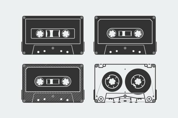 ilustrações, clipart, desenhos animados e ícones de silhuetas de fitas compactas ou fitas - fita cassete