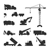 Construction machines silhouettes set. Building cranes, concrete mixers, excavators, trucks, bulldozer vector illustrations isolated on white background. For building company ad, infographics design