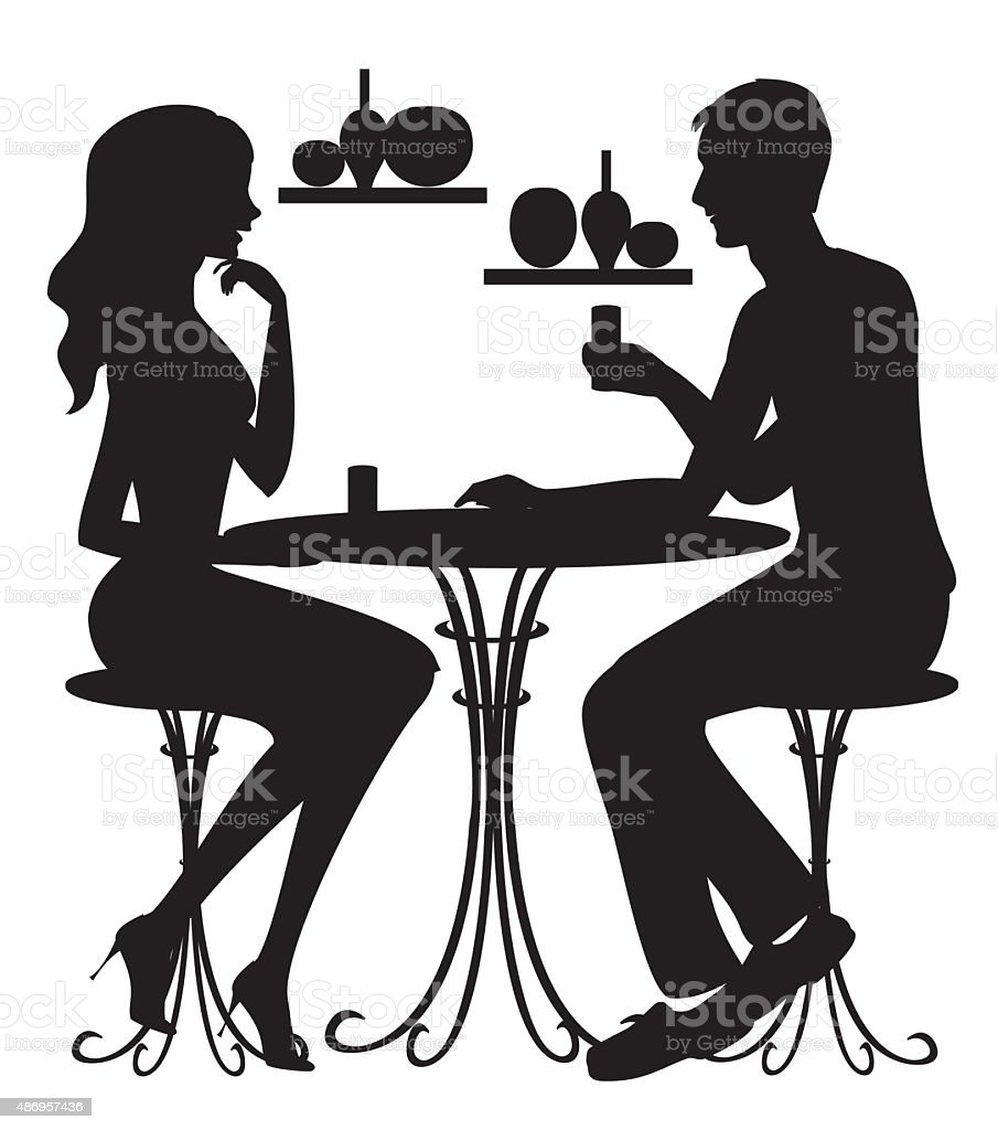 Silhouettes of couple at cafe vector art illustration