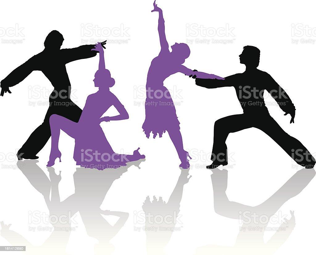 Silhouettes of couple dancing ballroom dance vector art illustration