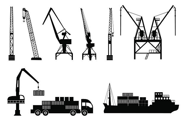 Silhouettes of cranes, truck and ship Silhouettes of loading lifting harbor cranes, truck and container ship. Vector icons set hooikoorts stock illustrations