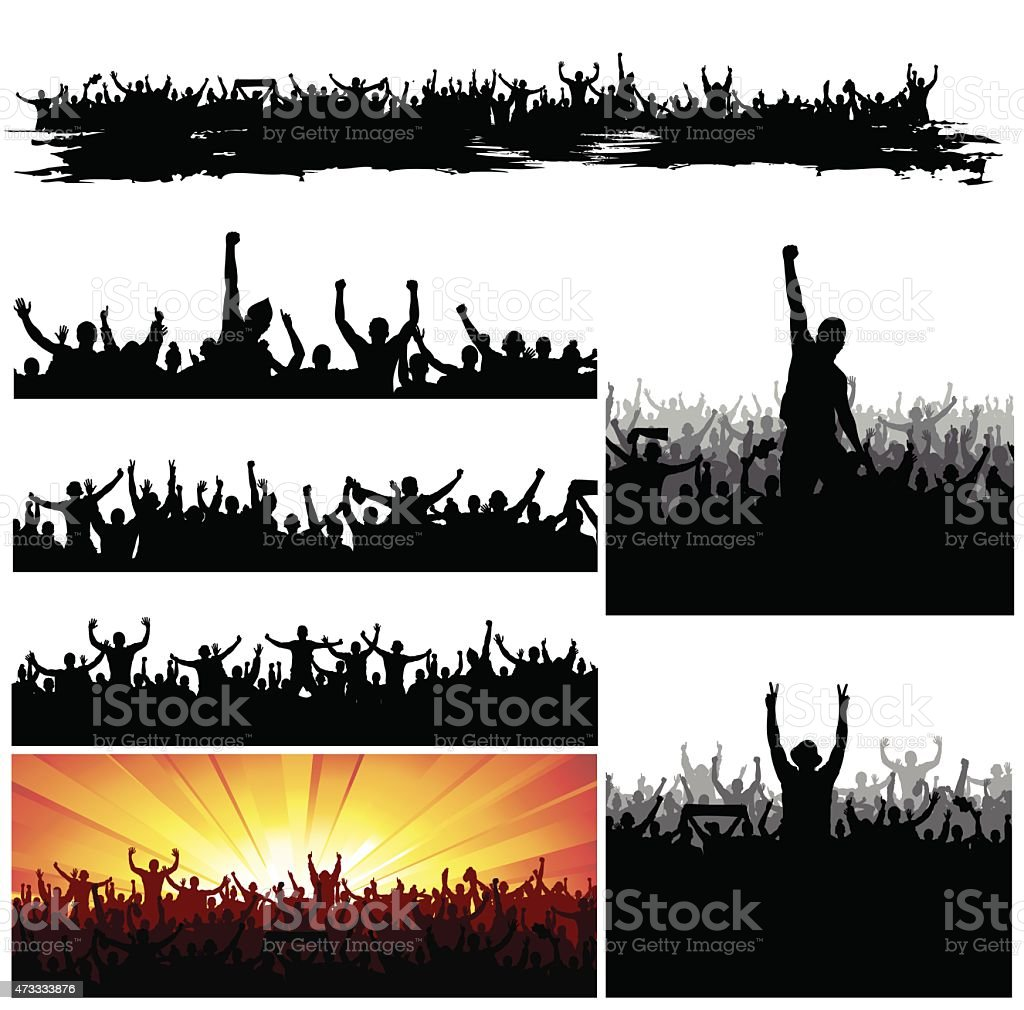 Silhouettes of crowds cheering in a big gathering vector art illustration