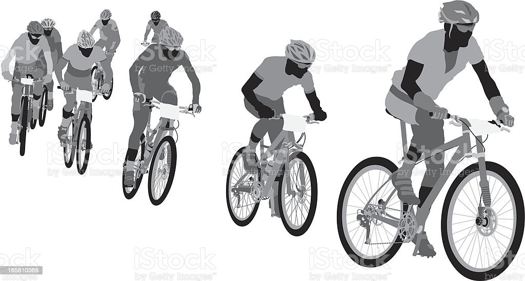 Silhouettes of cyclists vector art illustration