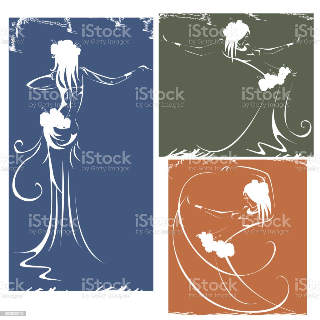 silhouettes of dancers hula,bellydance, tribal vector art illustration