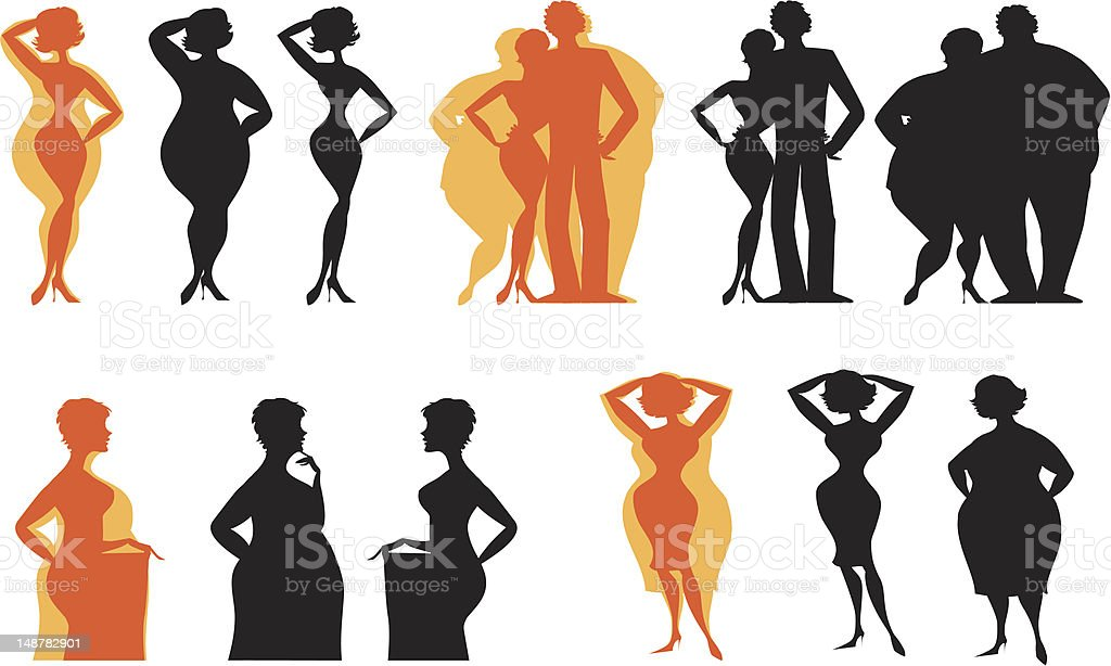 Silhouettes of dieting people vector art illustration