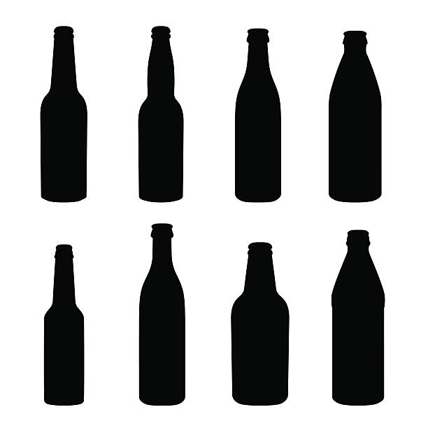 stockillustraties, clipart, cartoons en iconen met silhouettes of different alcohol bottles - bierfles