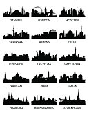 Silhouettes of different cities with names