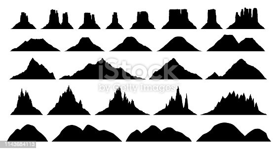 Silhouettes of different mountain types , big vector set, illustrations of plateau, hill, rock, highland, volcano silhouettes isolated on white