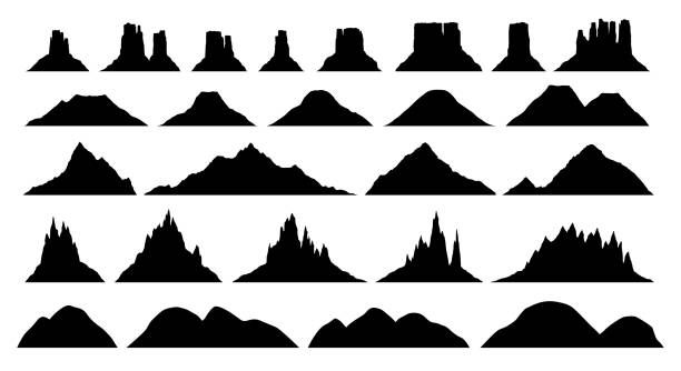silhouettes of different mountain types - плато stock illustrations