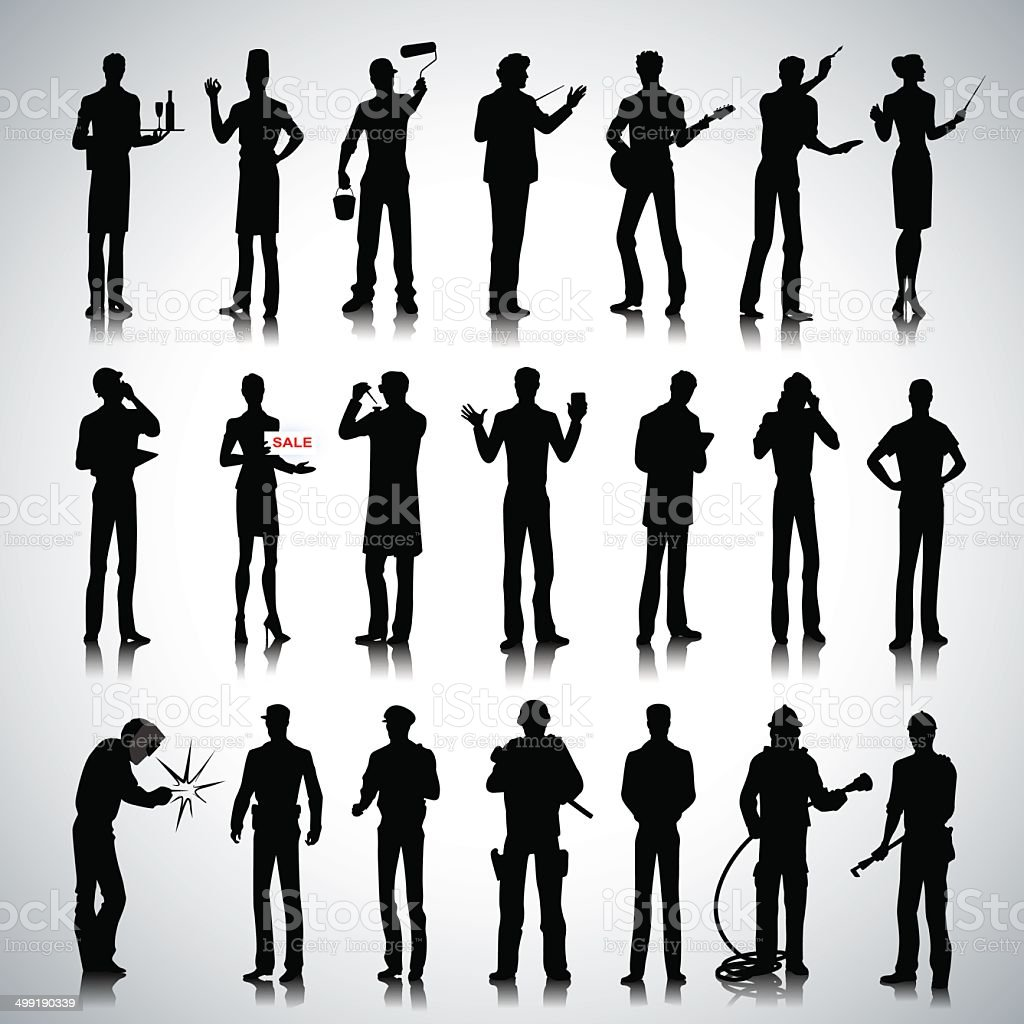 Silhouettes of different professions men vector art illustration