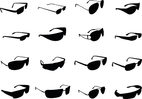 Silhouettes of different styles of sunglasses on white back