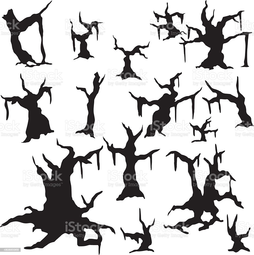 Silhouettes of dried-up trees vector art illustration