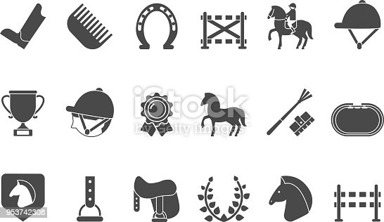 Silhouettes of equestrian sport symbols. Racing horse for sport equestrian competition, jockey riding, vector illustration