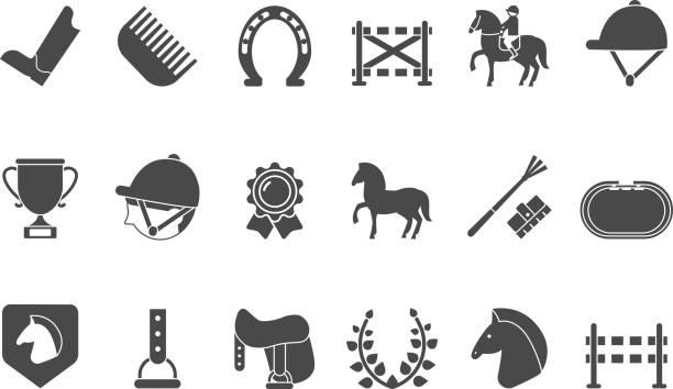 Silhouettes of equestrian sport symbols. Racing horse vector art illustration