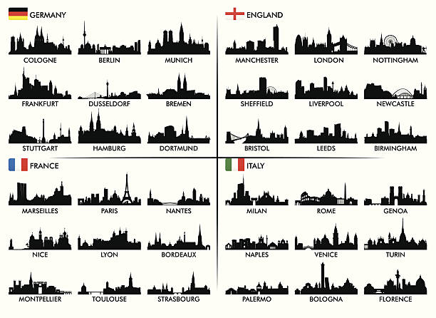 silhouettes of european city skylines with names - 德國 幅插畫檔、美工圖案、卡通及圖標