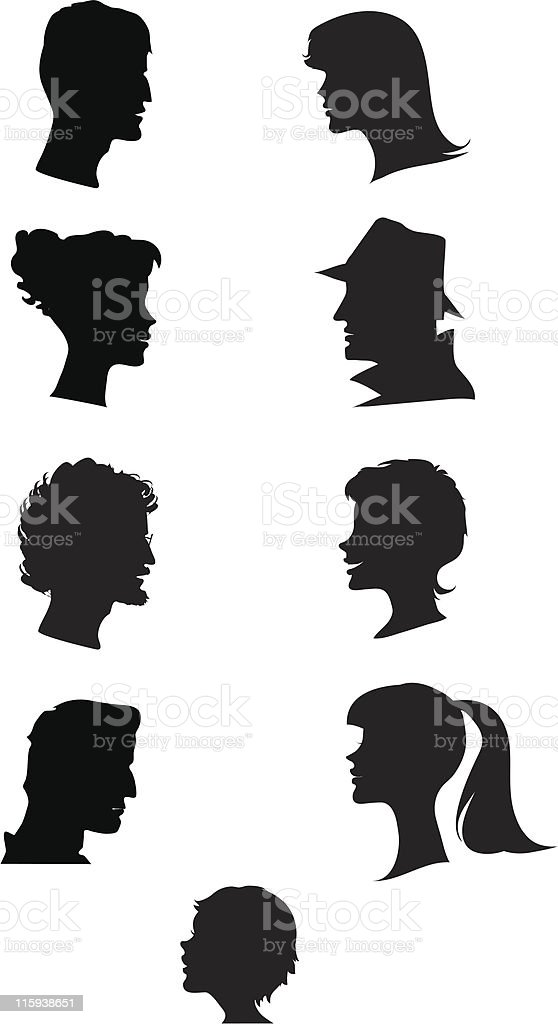 Silhouettes of faces royalty-free stock vector art
