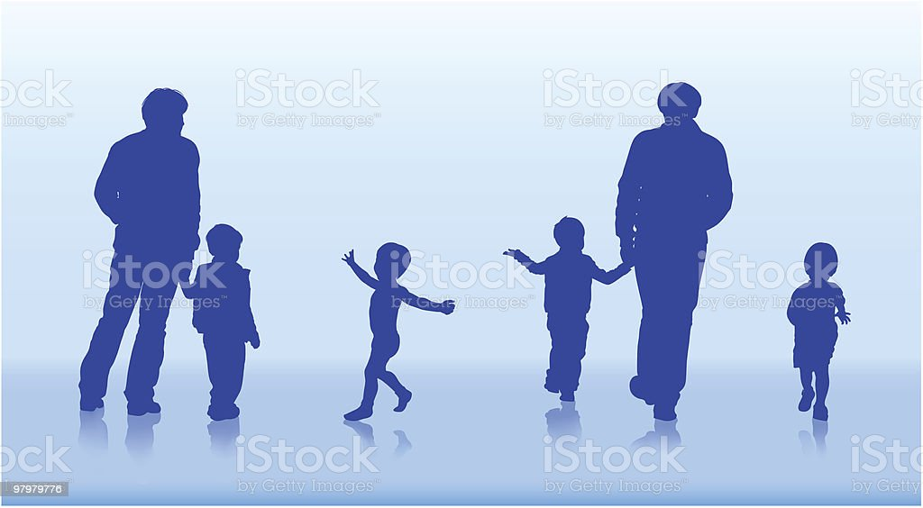 silhouettes of family and children royalty-free silhouettes of family and children stock vector art & more images of activity