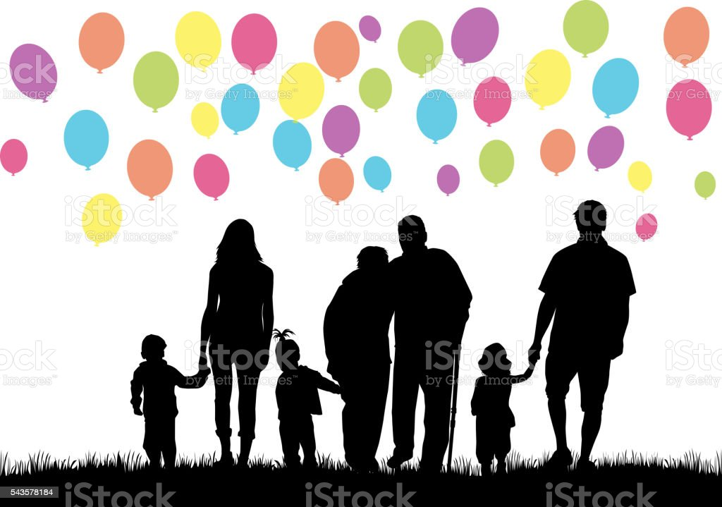 Silhouettes of family. Balloon background. vector art illustration