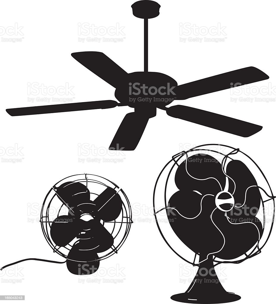 Silhouettes of fans ceiling fans and table fans royalty-free silhouettes of fans ceiling fans and table fans stock vector art & more images of air conditioner