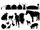 Silhouettes of farmer, farm animals and agricultural buildings. Set of vector illustrations