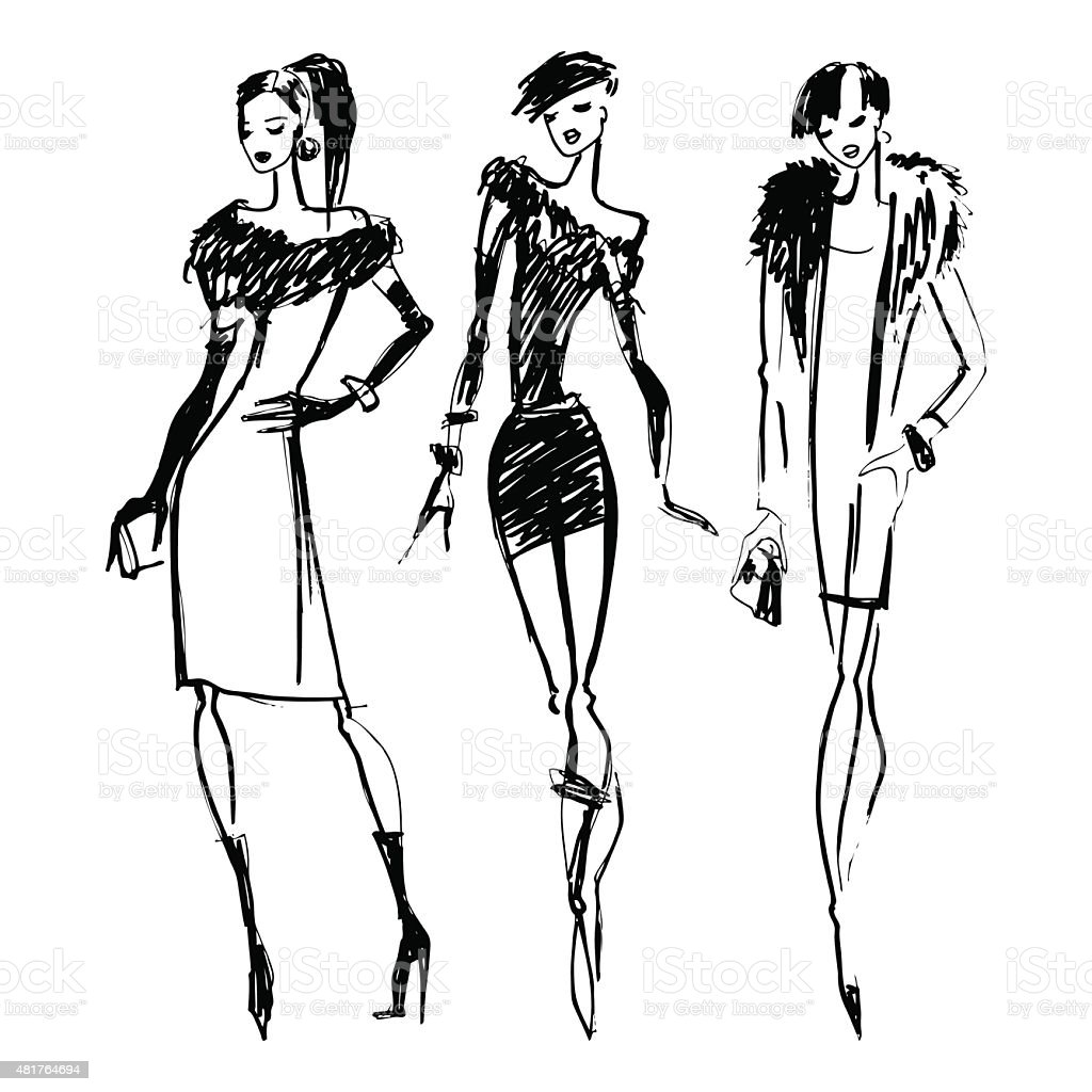 Silhouettes Of Fashion Women Stock Vector Art & More ...