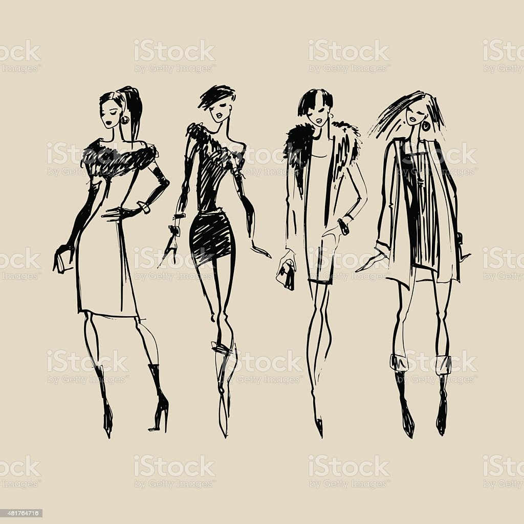 Silhouettes of Fashion Women vector art illustration