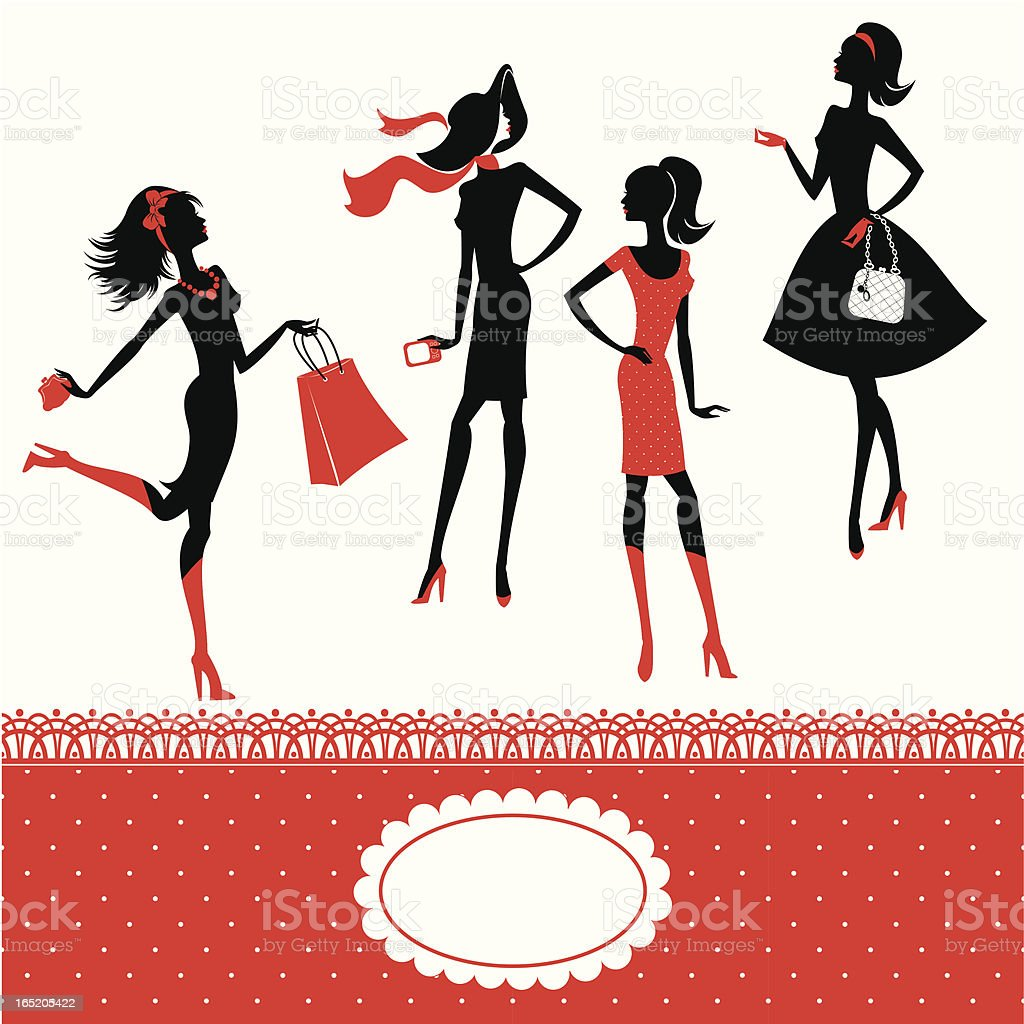 silhouettes of fashionable girls royalty-free stock vector art