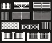 Silhouettes of fences.
