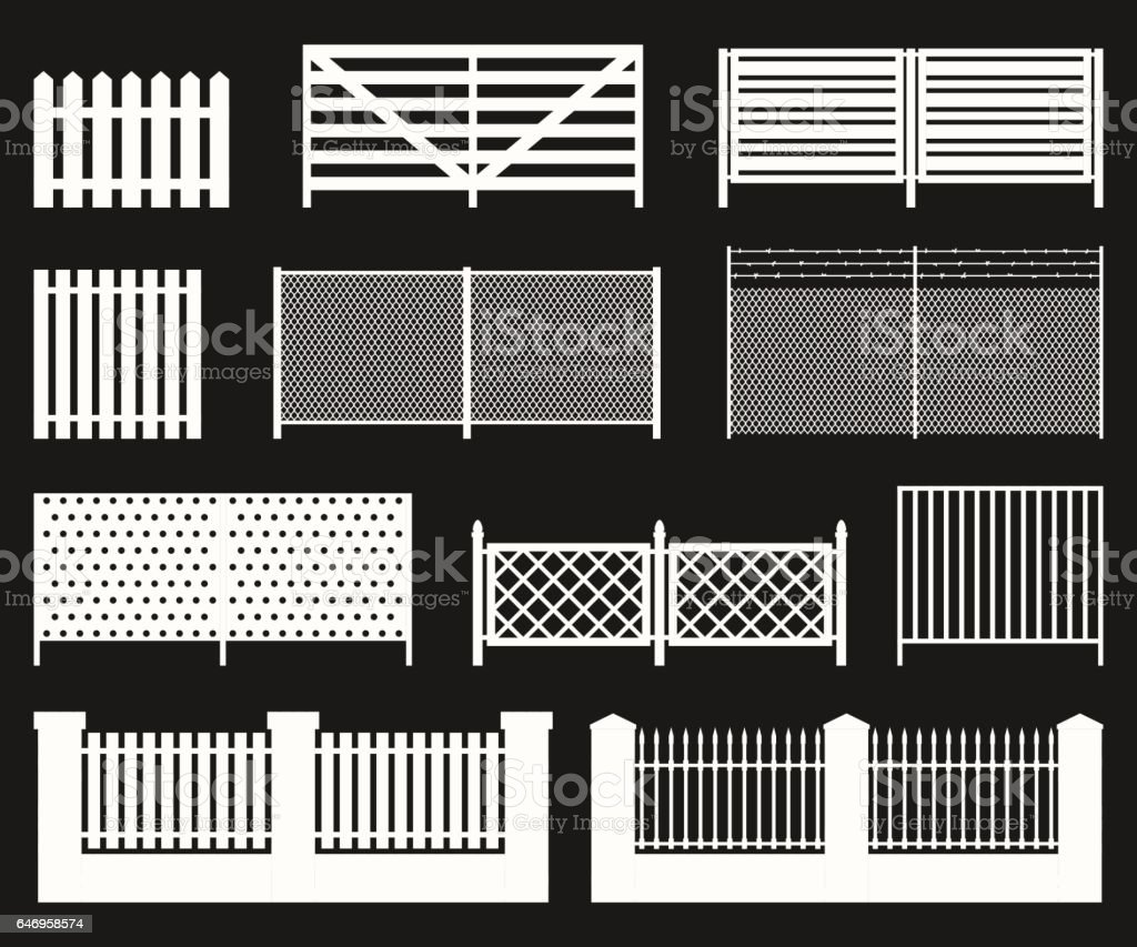 Silhouettes of fences. vector art illustration