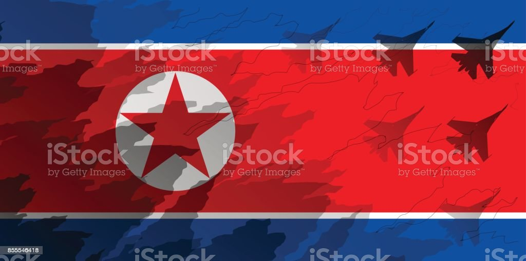 Silhouettes of fighter unit against the background of the flag of North Korea. Military background. Conflict in Asia. vector art illustration