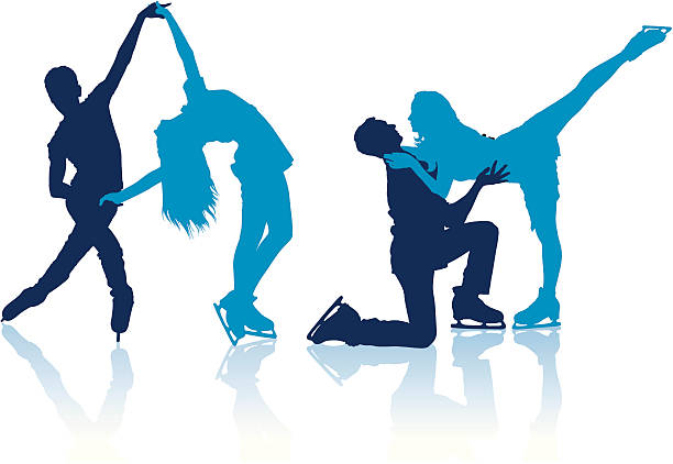 Silhouettes of figure skaters Detailed vector silhouettes of figure skaters figure skating stock illustrations