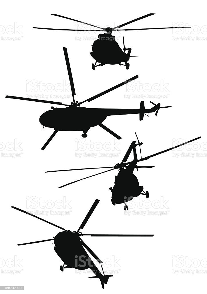 Silhouettes of flying helicopters royalty-free stock vector art