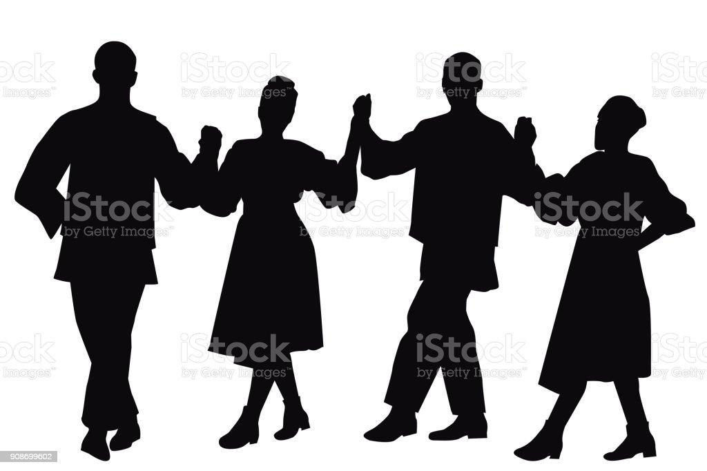 Silhouettes of folk dancers vector art illustration