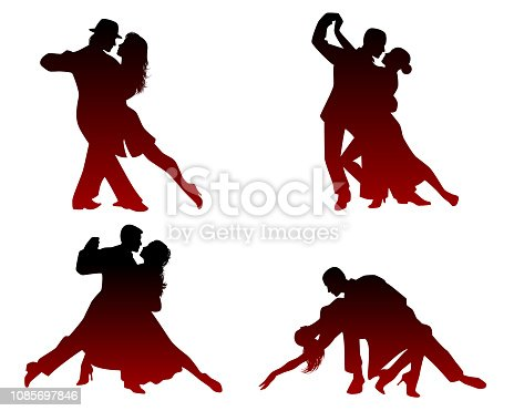 Vector illustration of silhouettes of four dancing couples