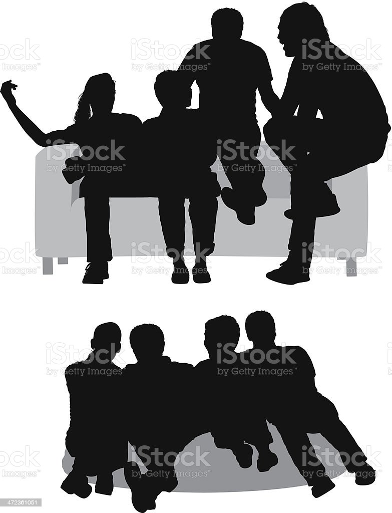 Silhouettes Of Friends Sitting On Couch Stock Vector Art