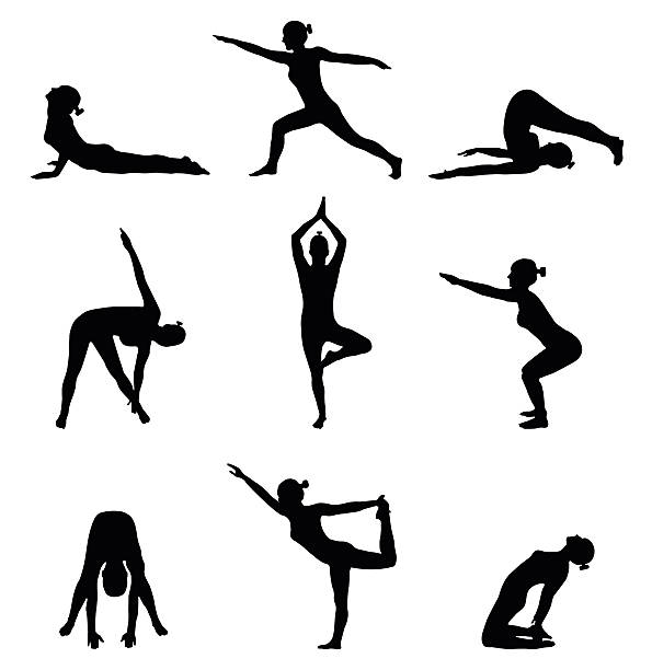 ilustraciones, imágenes clip art, dibujos animados e iconos de stock de silhouettes of girl stretching. yoga and exercise pose - gimnasia