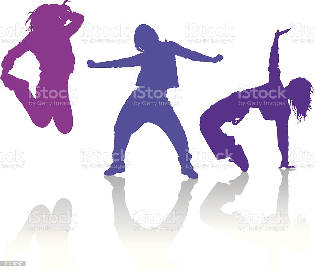 Silhouettes of girls dancing contemporary dance vector art illustration