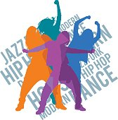 Silhouettes of expressive girls dancing modern dance styles. Jazz funk, hip-hop, house dance lettering. Detailed vector silhouettes.