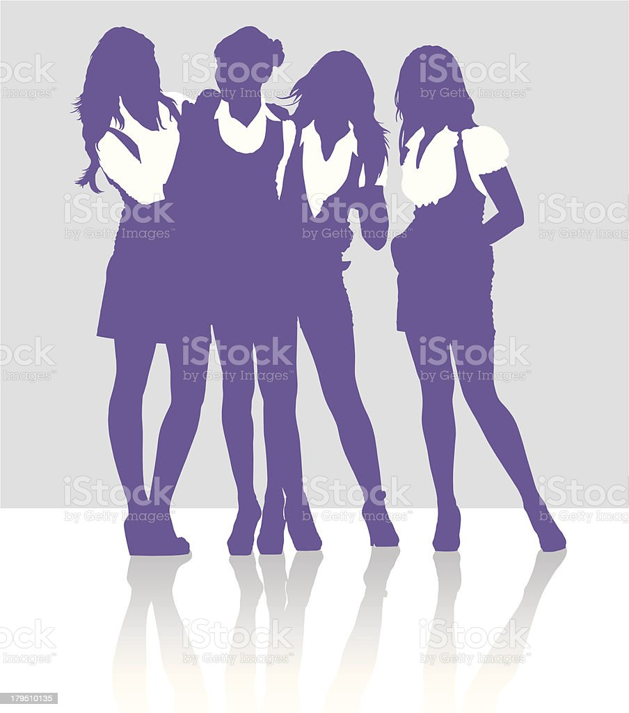 Silhouettes of girls talking to each other vector art illustration