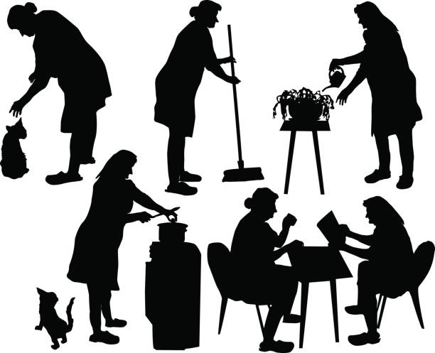 Silhouettes of grandmother taking care of household and relaxing Six silhouetters of old lady with a cat, flowers, cooker and broom cooking silhouettes stock illustrations